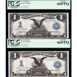 Consecutive Pair of 1899 $1 Black Eagle Silver Certificates PCGS 66PPQ