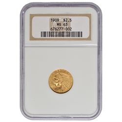1909 $2.5 Indian Head Quarter Eagle Gold Coin NGC MS63