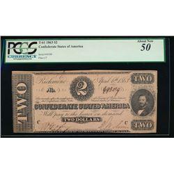 1863 $2 Confederate States of America Note PCGS 50