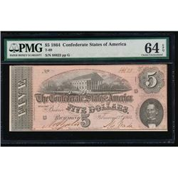 1864 $5 Confederate States of America Note PMG 64EPQ