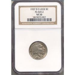 1937-D Buffalo Nickel NGC VF30