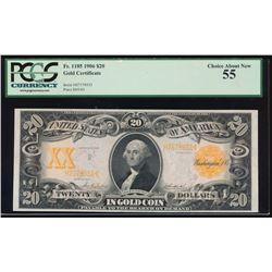 1906 $20 Gold Certificate PCGS 55