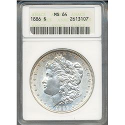 1886 $1 Morgan Silver Dollar Coin ANACS MS64