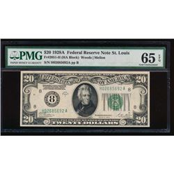 1928A $20 St. Louis Federal Reserve Note PMG 65EPQ