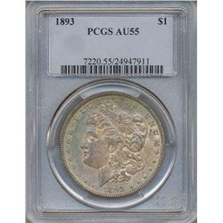 1893 $1 Morgan Silver Dollar Coin PCGS AU55