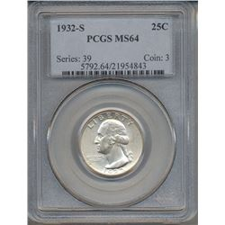 1932-S Washington Quarter Coin PCGS MS64