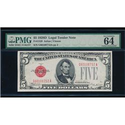 1928D $5 Legal Tender Note PMG 64