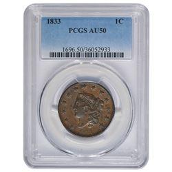 1833 Large Cent PCGS AU50