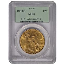1909/8 $20 St Gaudens Double Eagle Gold Coin PCGS MS62