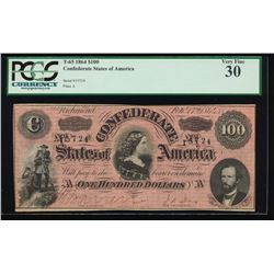 1864 $100 Confederate States of America Note PCGS 30