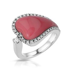 14KT White Gold 4.85ct Coral and Diamond Ring