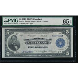 1918 $5 Cleveland Federal Reserve Bank Note PMG 65EPQ