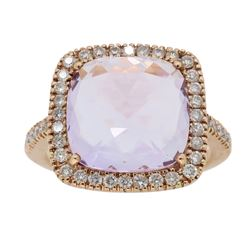 14KT Rose Gold 4.70ct Amethyst and Diamond Ring