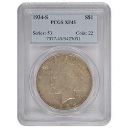 1934-S $1 Peace Silver Dollar Coin PCGS XF45