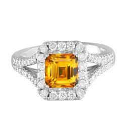 14KT White Gold 2.17ct Citrine and Diamond Ring
