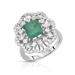 14KT White Gold 1.97ct Emerald and Diamond Ring