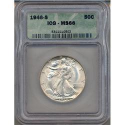 1946-S Walking Liberty Half Dollar Coin NGC MS66