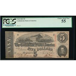 1863 $5 Confederate States of America Note PCGS 55