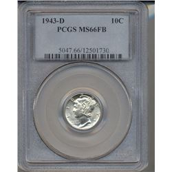 1943-D Mercury Dime Coin PCGS MS66FB