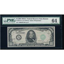 1934A $1000 Boston Federal Reserve Note PMG 64