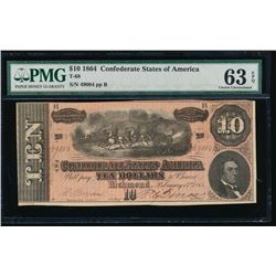 1864 $10 Confederate States of America Note PMG 63EPQ