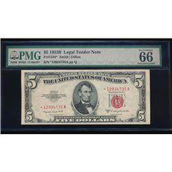 1953B $5 Legal Tender Star Note PMG 66