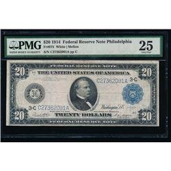 1914 $20 Philadelphia Federal Reserve Note PMG 25