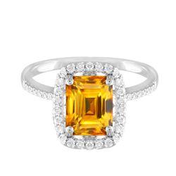 14KT White Gold 3.79ct Citrine and Diamond Ring