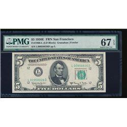 1950E $5 San Francisco Federal Reserve Note PMG 67EPQ