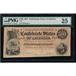 1864 $500 Confederate States of America Note PMG 25