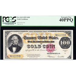 1922 $100 Gold Certificate PCGS 40PPQ