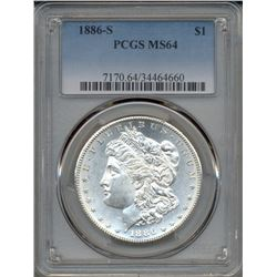 1886-S $1 Morgan Silver Dollar Coin PCGS MS64
