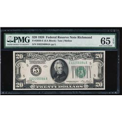 1928 $20 Richmond Federal Reserve Note PMG 65EPQ