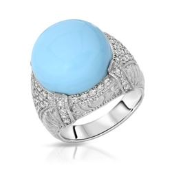 14KT White Gold 8.57ct Turquoise and Diamond Ring