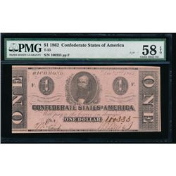 1862 $1 Confederate States of America Note PMG 58EPQ