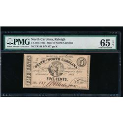1863 Five Cent State of North Carolina Note PMG 65EPQ