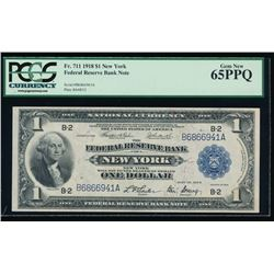 1918 $1 New York Large Federal Reserve Bank Note PCGS 65PPQ