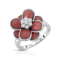 18KT White Gold 4.57ctw Coral and Diamond Ring