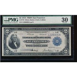 1918 $2 San Francisco Federal Reserve Bank Note PMG 30