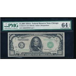 1934A $1000 Chicago Federal Reserve Note PMG 64EPQ