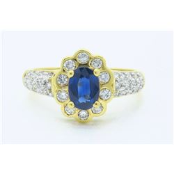 18KT Yellow Gold Blue Sapphire and Diamond Ring