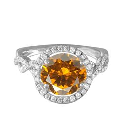 14KT White Gold 10.49ct Citrine and Diamond Ring