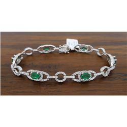 14KT White Gold 2.50ctw Emerald and Diamond Bracelet