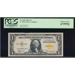 1935A $1 North Africa WWII Emergency Silver Certificate PCGS 67PPQ