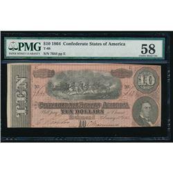 1864 $10 Confederate States of America Note PMG 58