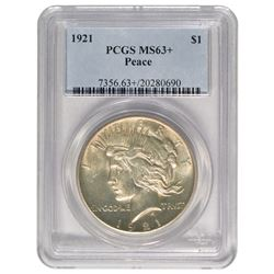 1921 $1 Peace Silver Dollar Coin PCGS MS63+
