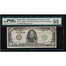 1934 $1000 St Louis Federal Reserve Note PMG 55