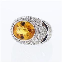 14KT White Gold 7.01ct Citrine and Diamond Ring