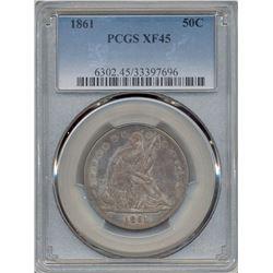 1861 Liberty Seated Half Dollar Coin PCGS XF45