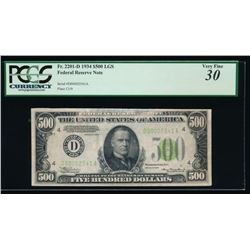 1934 $500 Cleveland Federal Reserve Note PCGS 30